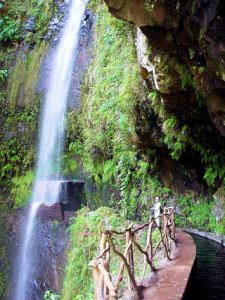 A spectaculat waterfall on the Levada da Ribeira da Janela