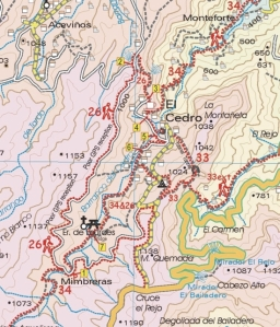 Walk La Gomera sample walk 26 map segment