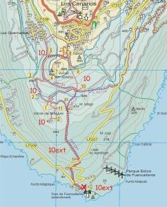 Walk la Palma Walk 10 The Southern Volcanoes ascending Teneguia MAP