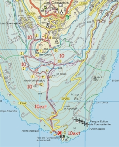 Walk la Palma Walk 10 The Southern Volcanoes ascending Teneguia MAP