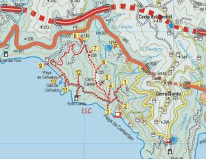 Map segment for the Torre Caleta walk.