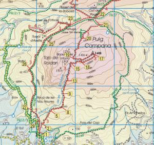 Costa Blanca Mountains map segment