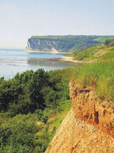 Looking towards Whitecliff Bay from the clifftop path (Walk 40, Walk! The Isle of Wight)