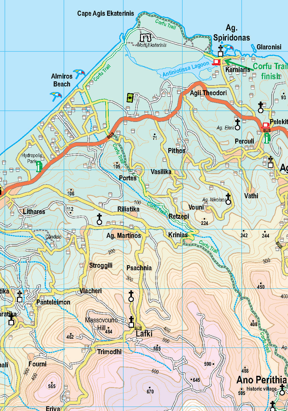 Corfu Tour & Trail map section